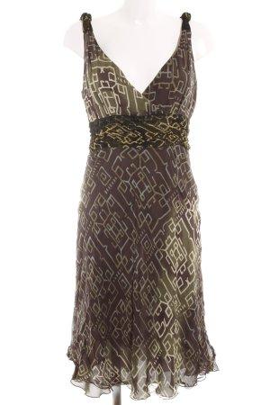 Jean Paul Berlin Trägerkleid olivgrün-dunkelbraun abstraktes Muster