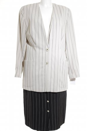 Jean Paul Business Suit cream-black striped pattern Mother-of-pearl buttons