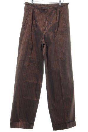 Jean Paul Gaultier Bundfaltenhose braunrot-sandbraun Streifenmuster Elegant