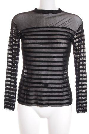 Jean Paul Gaultier Netzshirt schwarz Samt-Optik