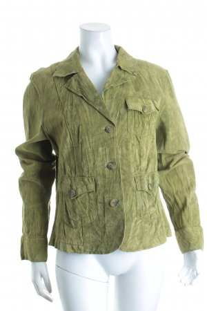 Jean Paul Leather Blazer olive green casual look