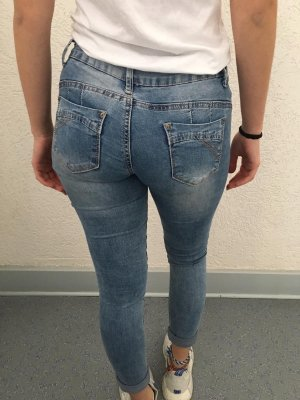 Jeans taille basse bleu