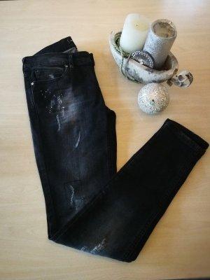 MNG Collection Jeans cigarette noir-blanc cassé