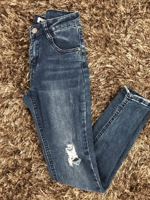 Forever 21 Low Rise Jeans dark blue-white