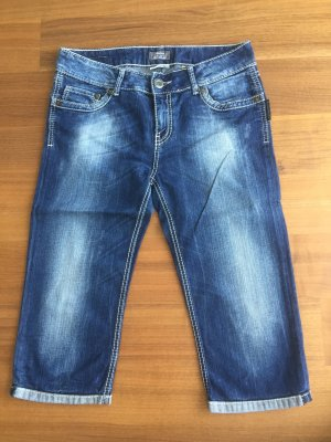 Street One Jeans 3/4 bleu foncé-blanc coton