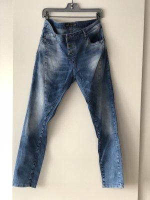 Amisu Jeans vita bassa blu Cotone