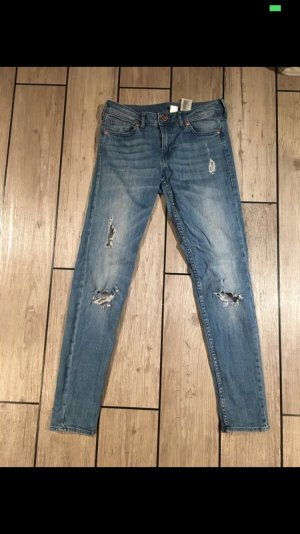 H&M Hoge taille jeans staalblauw-wolwit