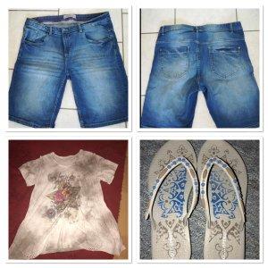 Jeans 44 neu Tunika L neu Flipflops 37/38