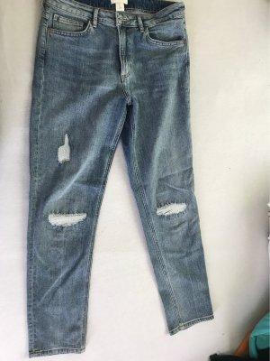 H&M Pantalon boyfriend gris ardoise