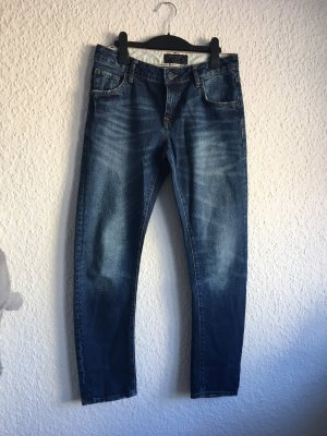 Zara Pantalón de tubo azul oscuro-petróleo