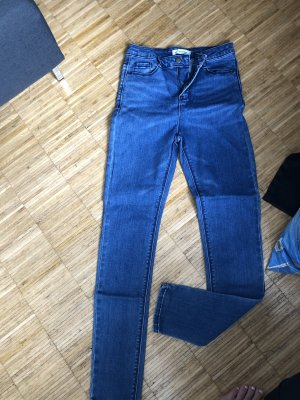 24Colours Hoge taille jeans staalblauw