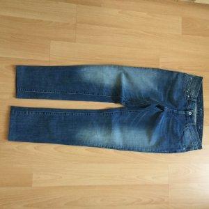 Jeans cigarette bleu acier coton