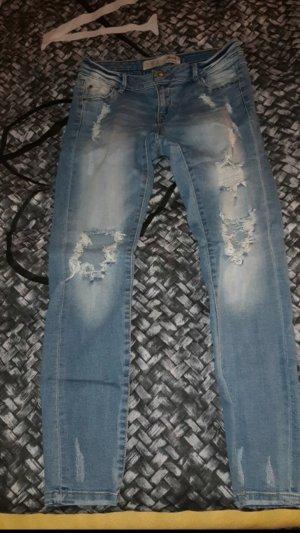 Primark Regenpijpbroek wit-donkerblauw