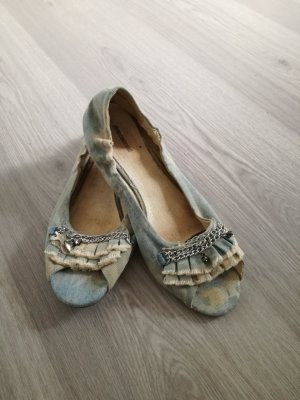 Graceland Peep Toe Ballerinas cream-pale blue