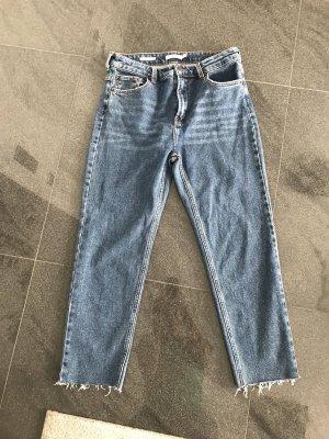 Bershka Jeans a vita alta blu Cotone