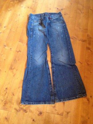 Big Blue Jeans a zampa d'elefante blu Tessuto misto