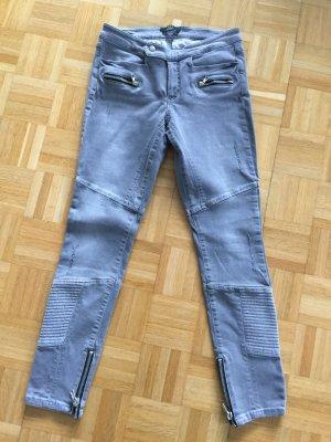 Jeans Bikerstyle Set grau low waist 38