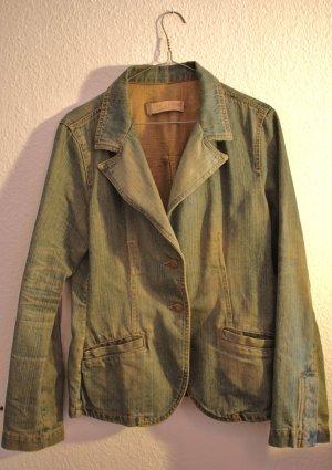 Zara Veste en jean vert gazon-bleu cadet