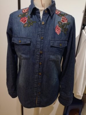 Jeans blouse rood-donkerblauw Gemengd weefsel