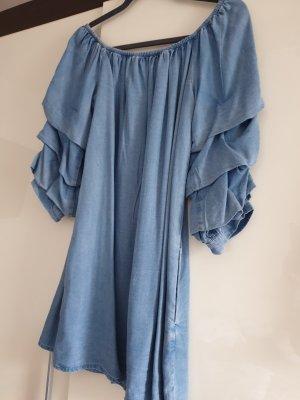 Jeans blouse grijs-bruin-azuur