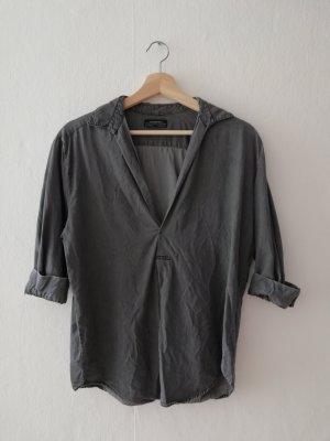 Zara Woman Denim Blouse grey-anthracite lyocell