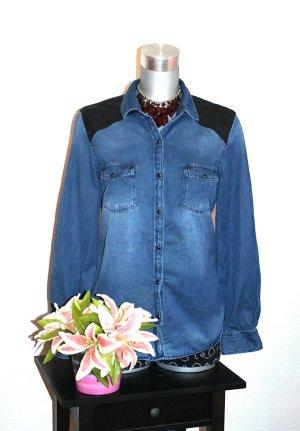 Jeans Bluse Leder gr.40/42 Jeansbluse Mittelblau Schwarz