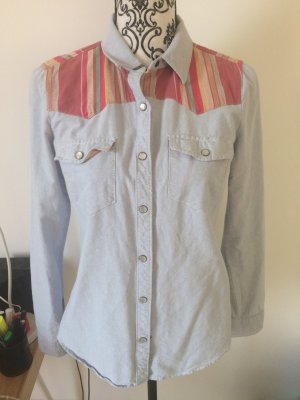 Jeans Bluse mit Ethno Muster