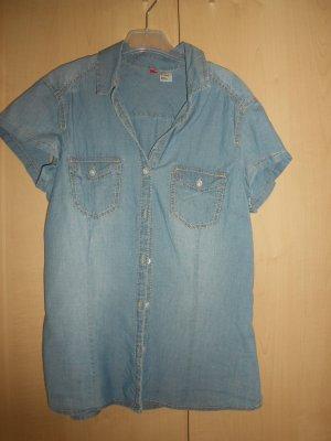 Jeans-Bluse mit kurzen Ärmeln