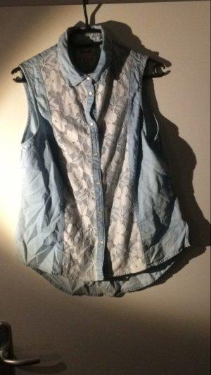 Jeans Bluse mit spitze