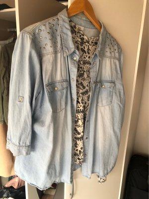 Jeans Bluse mit steinchen