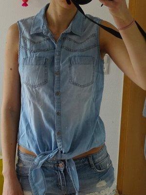 Jeans Bluse zum Binden