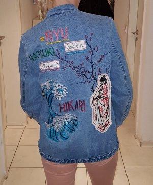 Jeans-Bomberjacke mit Print am Rücken