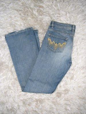 Jeans, Boot-Cut, Schlagjeans, Schlaghose, H&M, blau, mittelblau,Gr. 28