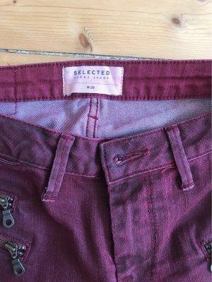 Selected Femme Low Rise Jeans bordeaux