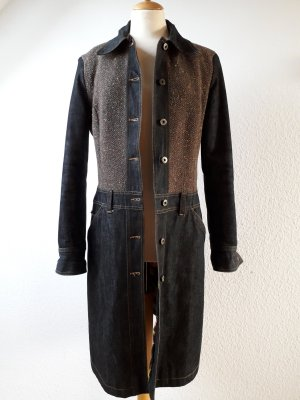 Jeans/ Boucle- Mantel tailliert