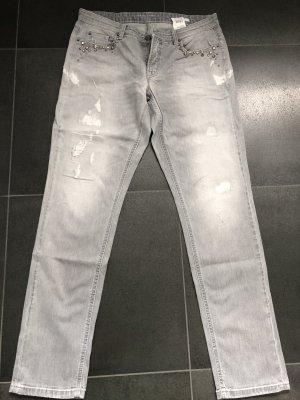 Cambio Boyfriend jeans lichtgrijs Katoen