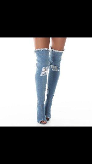 Jeans Damen Overknee Stiefel 41