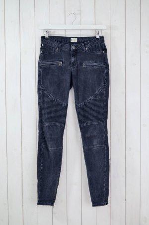 Jeans Denim Biker-Style Zipper Schwarz-Grau Gr.36