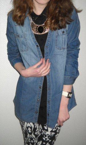 Jeans Denim Long Bluse Jacke Tunika Langarm Krempelärmel blau XS S H M 34 36 38