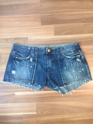 Jeans Denim Shorts dark destroyed farbklekse stitching