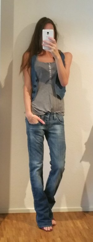 H&M Gilet en jean noir-bleuet