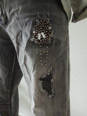 Jeans Des. mit Perlen u. Glitzer im Boyfriend style