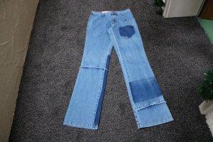 Jeans coupe-droite bleu clair-bleu coton