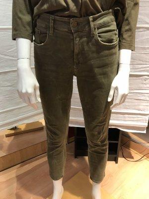 Zara Basic Jeans a 7/8 grigio-verde