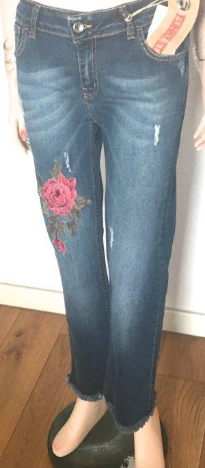 Funky Staff 7/8-jeans donkerblauw-baksteenrood Katoen