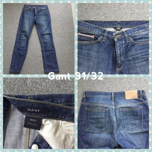 Gant Straight Leg Jeans steel blue-azure cotton