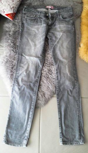 H&M Jeans cigarette argenté coton