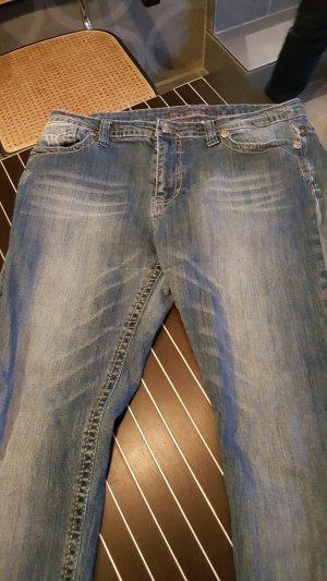 Jeans slim blanc-bleu azur