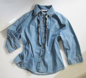Jeans Hemd Bluse M 38 Rüschen Blau Denim Gina Laura Cut Lagenlook Shabby Chic