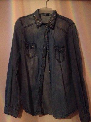 Jeans Hemd / Bluse mit Perlen Kragen